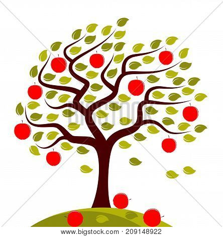 vector apple tree in the wind isolated on white background