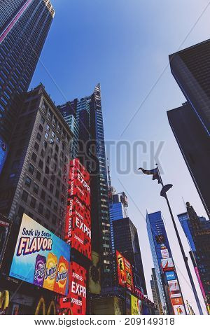 NEW YORK NEW YORK - September 4th 2017: detail of busy Times Square in Manhattan Nyc with plenty of billboards and tourists