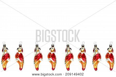 glass parrots christmas toys isolated over white