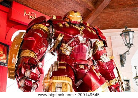 LAS VEGAS, NV, USA - Oct 09, 2017: Hulk Buster Iron Man costume at The Madame Tussauds museum in Las Vegas on October 09 2017 , The two-floor 30,000-square-foot museum has 100-plus wax replicas.