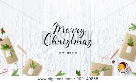 Merry Christmas Web Banner with Festive Composition. Beautiful Greeting Card with Lettering. Top View on Decoration with Paper Gift Boxes for Happy New Year. Vector Illustration.