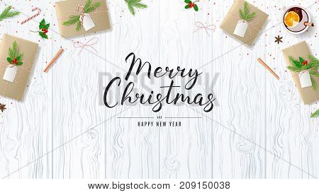 Merry Christmas Banner with Festive Decoration. Top View on Composition with Paper Gift Boxes for Happy New Year. Beautiful Greeting Card with Lettering. Vector Illustration.