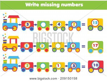 Mathematics educational game for children. Complete the row write missing numbers