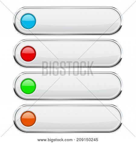 White buttons with colored circles. Menu interface elements with metal frame. Vector 3d illustration isolated on white background