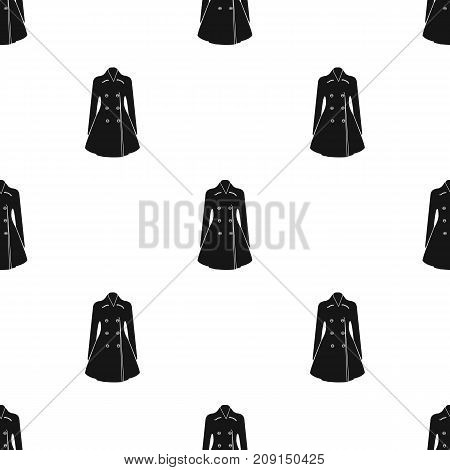 Blue female restrained coat buttoned. Women s outerwear. Woman clothes single icon in black style vector symbol stock web illustration.