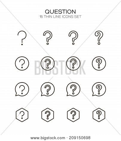 Question mark icon set. Collection of high quality outline technology pictograms in modern flat style. Black information symbol for web design and mobile app on white background. Help line logo.