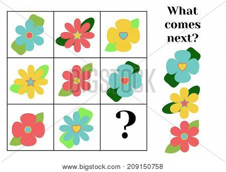 What comes next educational children game. Kids activity sheet training logic continue the row task.