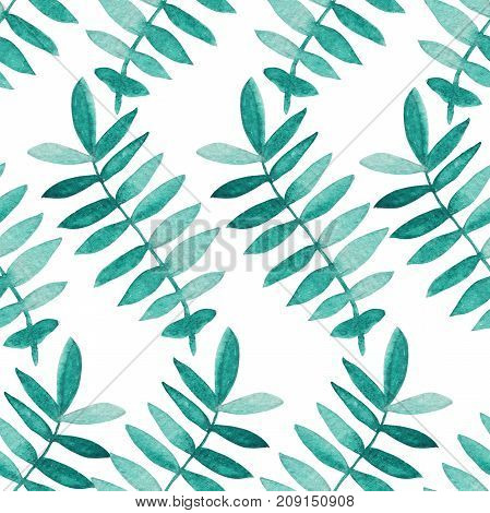 Elegant seamless pattern with watercolor painted branches with leaves design elements. Floral pattern for invitations greeting cards scrapbooking print gift wrap manufacturing