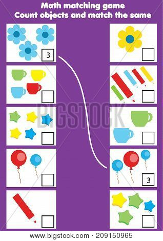 Math educational game for children. Matching mathematics activity. Counting game for kids. match by numbers