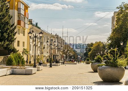 Belgorod Russia - September 29 2017: Street of the fiftieth anniversary of the Belgorod region. Pedestrian street in the old residential center of the city. City environment