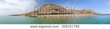 Panorama view on the beach Playa Las Coloraas in Morro Jable on the Canary Island Fuerteventura Spain.