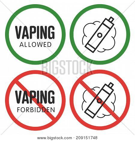 prohibitory sign vaping ban e-cigarette isolated vapor