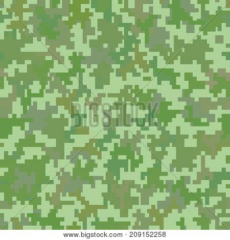 Green pixel camo background. Seamless pattern. Vector illustration