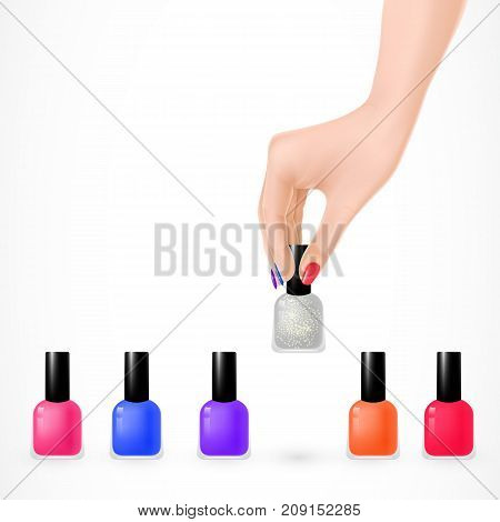 Illustration of nail polish set and woman hand with fingernails painted different colors. Manicure, beauty salon, nail care. Glamour concept. Design element for posters, leaflets and brochures.
