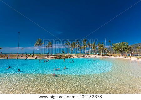 AIRLIE BEACH, AUS - SEPT 20 2017: Hot sunny day the lagoon in Airlie beach, Queensland, Australia