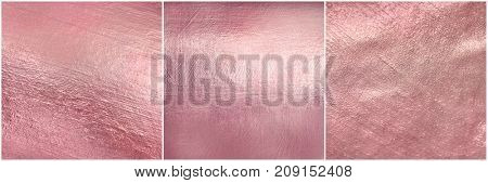 Set rose gold metal texture. Luxury elegant soft foil background.
