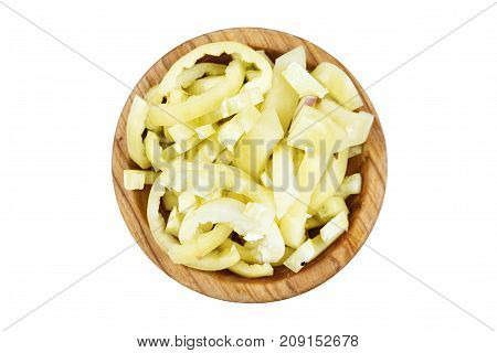 chopped Bulgarian pepper finely chopped in a plate on a white background isolated