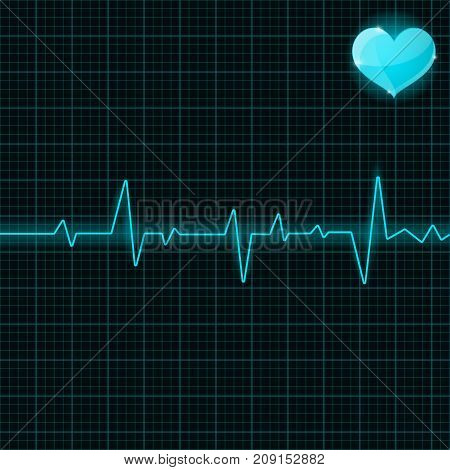 Blue electrocardiogram with heart symbol. Vector illustration