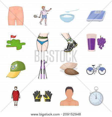 Active sports and diet and other  icon in cartoon style.Slimming the collateral of a separate food icons in set collection.