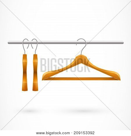 Illustration of three wooden hangers on clothes rail. Theatre, wardrobe, shopping, sale. Clothes concept. Design element for banners, posters, leaflets and brochures