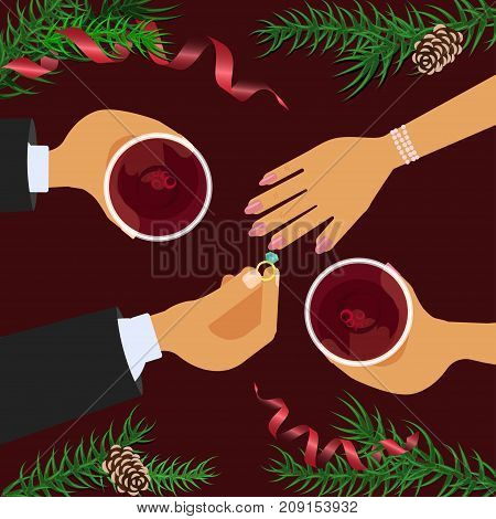 Christmas celebration and betrothal. Xmas amorous date theme top view on red table background. Vector illustration eps 10