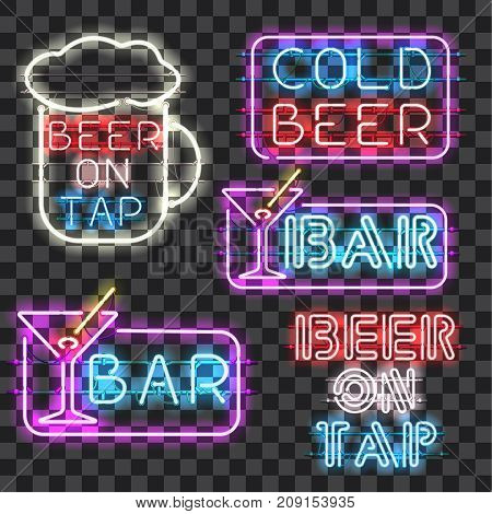 Set of glowing bar neon signs isolated on transparent background. Shining and glowing neon effect. Every sign is separate unit with wires tubes brackets and holders.