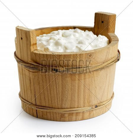 Chunky Cottage Cheese In Rustic Wood Container Isolated On White.