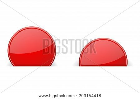 Round red labels partially hidden in paper holes, with transparent shadow. Vector illustration on white background