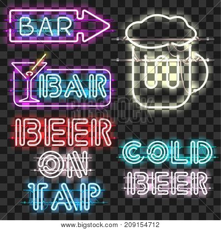 Set of glowing bar neon signs isolated on transparent background. Shining and glowing neon effect. Every sign is separate unit with wires, tubes, brackets and holders.
