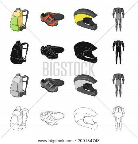 Backpack equipment, bicyclist sneakers, protective helmet, overalls. Cyclist outfit set collection icons in cartoon black monochrome outline style vector symbol stock isometric illustration .