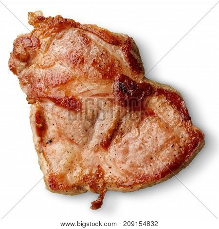 Grilled Pork Neck Steak Isolated On White From Above.