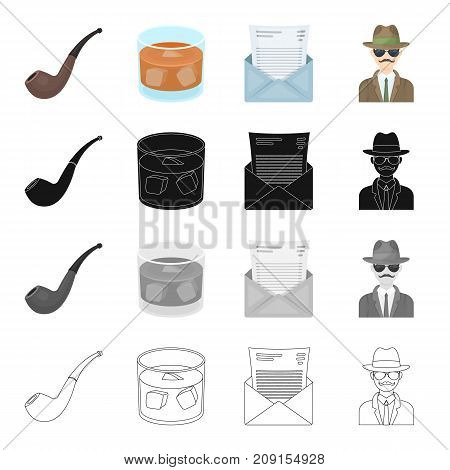 A man is a detective, a smoking pipe, a glass with alcohol, a mail envelope. Detective and Agent set collection icons in cartoon black monochrome outline style vector symbol stock isometric illustration .