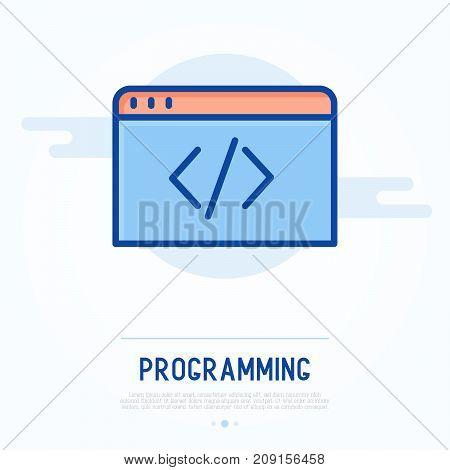 Programming, coding thin line icon. Vector illustration.