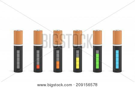 3d rendering of six AAA type batteries with charge indicators in different stages of energy levels. Maximum charge. Depleted batteries. New and old portable power.