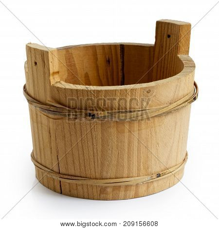 Empty Wooden Rustic Wood Container Isolated On White.