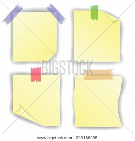 yellow notice paper set isolated on white