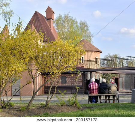 Elderly people and man and women sit on a bench under a yellow tree next to a decorative old building. It was a calm early autumn and evening time I was walking with a Nikon D610 camera and then I saw this wonderful story under a yellow tree. The yellow a
