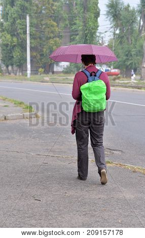 Along the road there is a girl hiding from the rain with a purple umbrella. She is wearing trousers and a purple sweatshirt with a backpack behind her shoulders and is wearing a bright green rain guard.