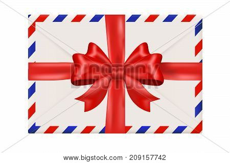Envelope with red ribbon. Gift wrapping. Vector 3d illustration isolated on white background