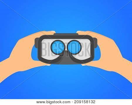 Cartoon Human Hands Holding Virtual Reality Headset on a Blue Background Visual Innovation Cyberspace Concept. Vector illustration of VR