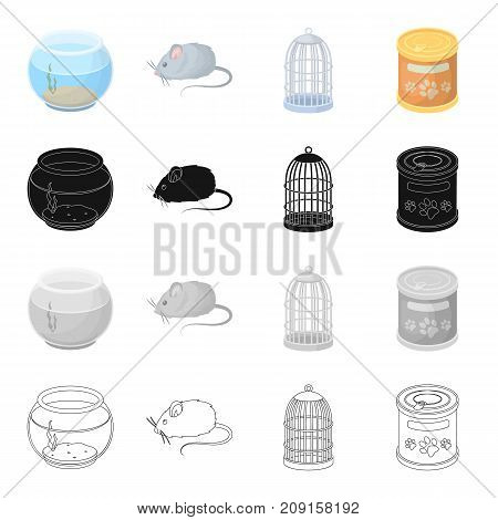 Aquarium, glass, round and other  icon in cartoon style.Pet, goods, attributes, icons in set collection
