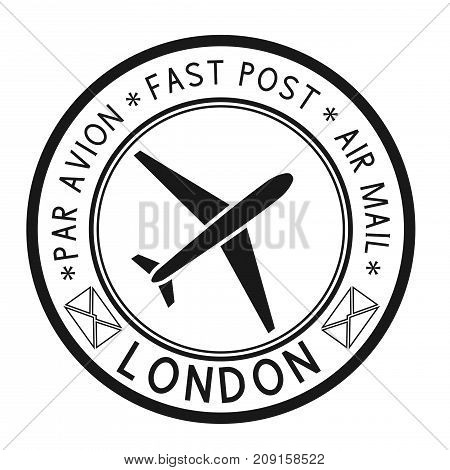 Postal stamp with LONDON title. Round black postmark. Vector illustration isolated on white background