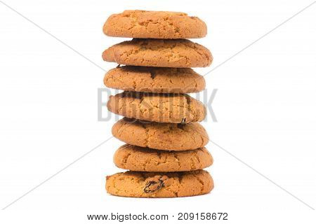 Biscuits with raisins isolated on white background isolation