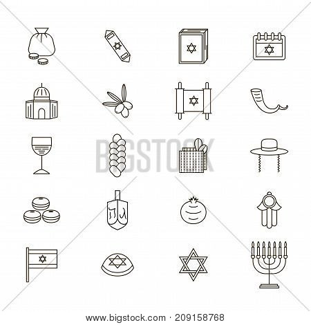 Symbol of Israel Thin Line Icon Set Style Design Element Travel Religion. Vector illustration of Jewish National Culture, Food and Monument