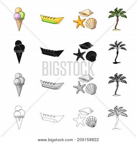 Ice cream, inflatable boat for rest, sea mollusks, palm. Rest in summer set collection icons in cartoon black monochrome outline style vector symbol stock isometric illustration .
