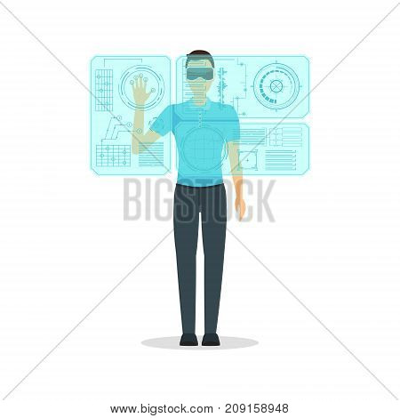 Cartoon Virtual Reality Man with Transparent Futuristic Technology Display Concept Flat Design Style Innovation Communication Equipment on a White. Vector illustration Boy using Vr