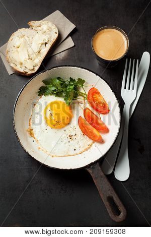 Breakfast With Coffee And Eggs