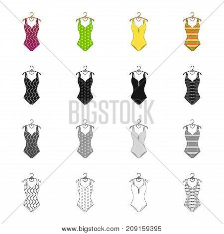 Fashionable women s swimsuit. Different kinds of swimsuits set collection icons in cartoon black monochrome outline style vector symbol stock illustration .