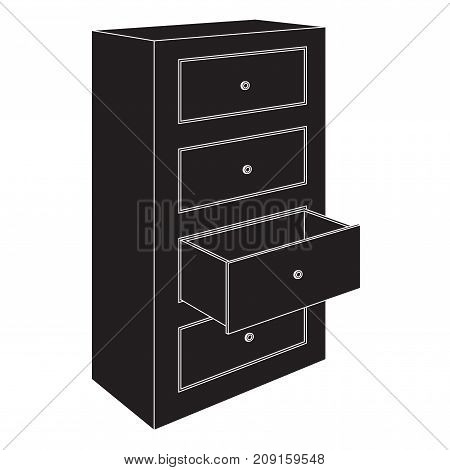 Office cabinet with open drawer. Black outline drawing. Vector illustration isolated on white background