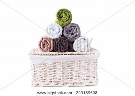 Stack Roll Bath Towels Colorful Textile Objects